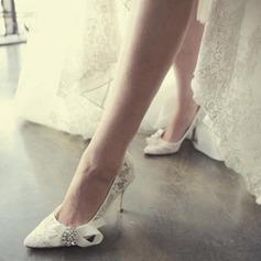 Женщины Кружева Высокий тонкий каблук Закрытый мыс Beach Wedding Shoes с горный хрусталь Лента (047126537)