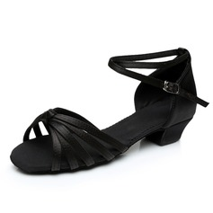 Kids' Satin Heels Sandals Latin With Ankle Strap Dance Shoes (053092232)