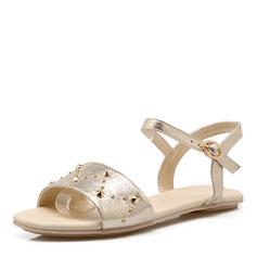 Женщины PU Плоский каблук Сандалии На плокой подошве с заклепки обувь (087157103)