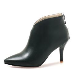 Femmes Similicuir Talon stiletto Escarpins Bout fermé Bottes Bottines avec Zip chaussures (088176511)