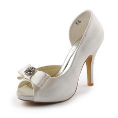 Kvinnor Satäng Cone Heel Peep Toe Plattformen Sandaler med Rosettknut Strass (047005327)