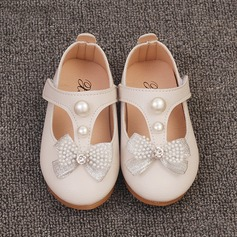 Girl's Closed Toe Leatherette Flat Heel Flats Flower Girl Shoes With Bowknot Imitation Pearl Velcro (207153559)