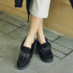 Women's Suede Flat Heel Flats Closed Toe With Tassel shoes (086145725)