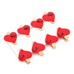 в форме сердца Деревянный клипсы (набор из 8) (051072236)