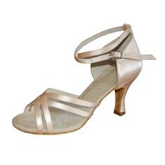 De mujer Satén Tacones Sandalias Danza latina con Tira de tobillo Zapatos de danza (053013154)