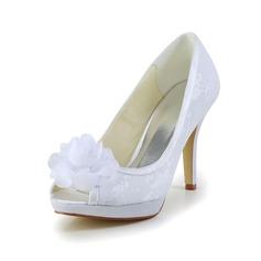 Kvinnor Spets Satäng Stilettklack Peep Toe Sandaler med Blomma (047024170)