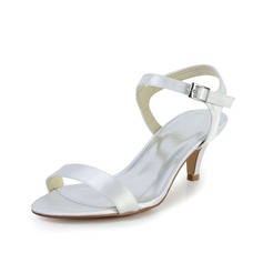 Women's Satin Kitten Heel Sandals Slingbacks (047033719)
