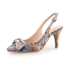 Women's Cloth Stiletto Heel Pumps Closed Toe With Bowknot shoes (085094487)
