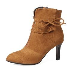 Mulheres Camurça Salto agulha Bombas Botas Bota no tornozelo com Bowknot Zíper sapatos (088143729)