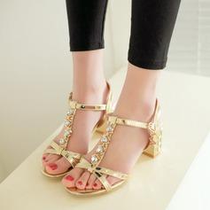 Женщины кожа Устойчивый каблук Сандалии Beach Wedding Shoes с горный хрусталь (047125423)