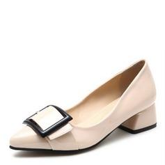 Женщины Лакированная кожа Устойчивый каблук На каблуках Закрытый мыс с бантом обувь (085095176)