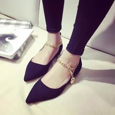 Женщины Замша Плоский каблук На плокой подошве Платформа с Цепь обувь (086145705)