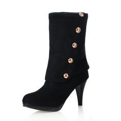 Camurça Salto agulha Bota no tornozelo com Lantejoulas sapatos (088052926)
