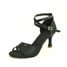 Женщины Атлас На каблуках Сандалии Латино с Ремешок на щиколотке Обувь для танцев (053013029)