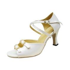Kvinder Satin Hæle sandaler Latin med Ankel Strop Dansesko (053012986)