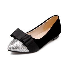 Women's Suede Sparkling Glitter Flat Heel Flats Closed Toe With Bowknot shoes (086069449)