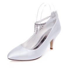 Женщины Атлас Высокий тонкий каблук Закрытый мыс На каблуках с кисточкой (047083312)