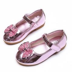 Fille de Bout fermé similicuir talon plat Chaussures plates Chaussures de fille de fleur avec Bowknot (207101557)
