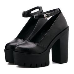 Женщины кожа Устойчивый каблук На каблуках с пряжка обувь (085105638)