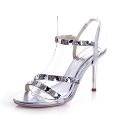 Satiné Talon stiletto Sandales Escarpins avec Strass chaussures (087039886)