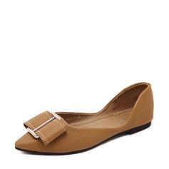 Женщины PU Плоский каблук На плокой подошве Закрытый мыс с пряжка обувь (086139689)