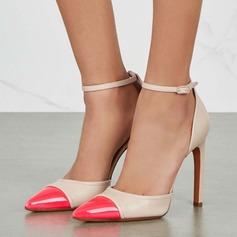Женщины кожа Высокий тонкий каблук На каблуках Закрытый мыс с пряжка обувь (085153099)