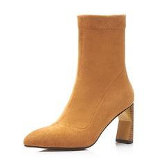 Vrouwen Suede Stiletto Heel Pumps Laarzen Half-Kuit Laarzen met Rits schoenen (088143758)