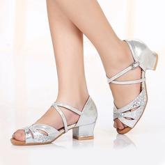 Детская обувь кожа Мерцающая отделка На каблуках Латино Обувь для танцев (053106463)