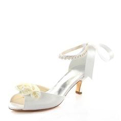 Женщины шелка как атласное Высокий тонкий каблук Сандалии с Цветок хрусталь жемчуг (047128168)
