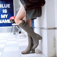 Женщины кожа Устойчивый каблук Ботинки Сапоги до колен с пряжка Застежка-молния обувь (088125606)