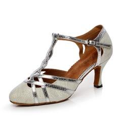 Женщины кожа На каблуках На каблуках Бальные танцы с Т-ремешок Обувь для танцев (053072075)