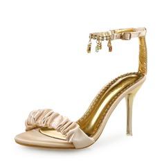 Женщины Шелковые Высокий тонкий каблук Сандалии Открытый мыс с Рябь Цепь обувь (087113612)