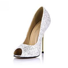 Konstläder Stilettklack Sandaler Pumps Peep Toe med Glittrande Glitter skor (087051821)