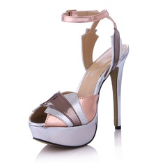 Women's Leatherette Stiletto Heel Sandals Platform Peep Toe Slingbacks With Buckle Split Joint shoes (087029170)