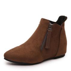 Женщины Замша Низкий каблук Ботинки Полусапоги с Застежка-молния обувь (088146335)
