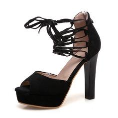 Mulheres Camurça Salto agulha Sandálias Bombas Plataforma Peep toe com Bowknot Aplicação de renda Oca-out sapatos (085167124)