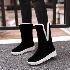 Женщины Замша Вид каблука Ботинки Сапоги до середины голени с бантом мех обувь (088137105)