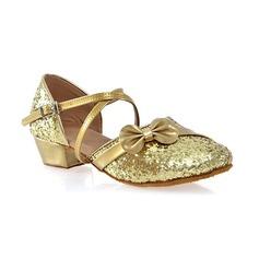 Женщины кожа Мерцающая отделка На каблуках Бальные танцы с бантом пряжка Обувь для танцев (053103209)