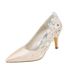 Женщины шелка как атласное Высокий тонкий каблук На каблуках с Вышитые кружева жемчуг (047128169)
