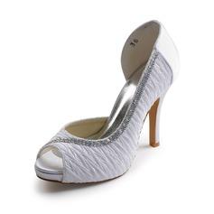 Kvinnor Satin Cone Heel Peep Toe Plattform Sandaler med Bärlbroderi STRASS (047005326)