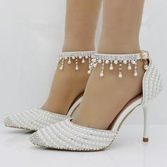 Женщины кожа Высокий тонкий каблук Закрытый мыс На каблуках с Имитация Перл горный хрусталь (047149252)