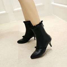 Femmes PU Talon stiletto Escarpins Bottes mi-mollets avec Plissé Zip chaussures (088145079)