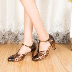 Женщины кожа На каблуках На каблуках Бальные танцы с Т-ремешок Обувь для танцев (053085774)