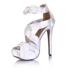 Silk Like Satin Stiletto Heel Sandals Platform Peep Toe With Bowknot Ruched shoes (087025074)