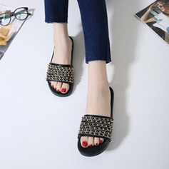 Женщины кожа Плоский каблук На плокой подошве Тапочки с Цепь обувь (087124981)