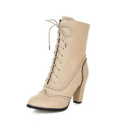 Couro Salto robusto Bota no tornozelo com Aplicação de renda sapatos (088055035)