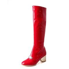 Женщины Лакированная кожа Устойчивый каблук Сапоги до колен обувь (088074438)