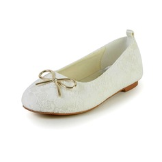 Kids' Lace Satin Flat Heel Closed Toe Flats With Bowknot (047031817)