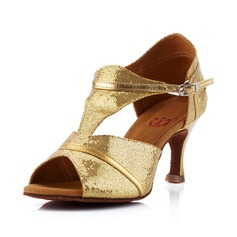 Mulheres Couro Espumante Glitter Saltos Sandálias Latino Salão de Baile com Correia -T Sapatos de dança (053041587)
