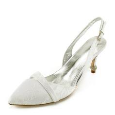 Женщины Кружева кожа Каблук Закрытый мыс На каблуках Сандалии с Каблуки с кристаллами (047166037)